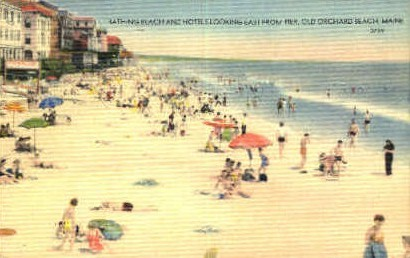 Bathing Beach & Hotels - Old Orchard Beach, Maine ME Postcard
