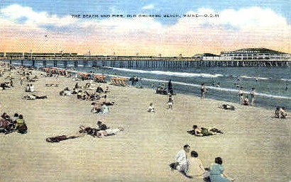 Beach & Pier - Old Orchard Beach, Maine ME Postcard