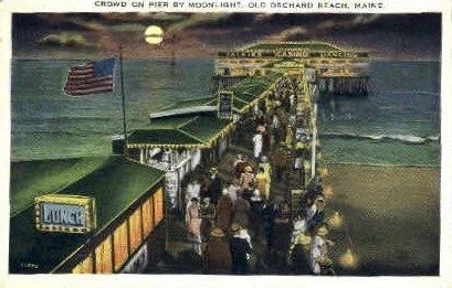 Crowd on Pier - Old Orchard Beach, Maine ME Postcard