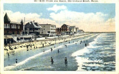 Bath House & Beach - Old Orchard Beach, Maine ME Postcard