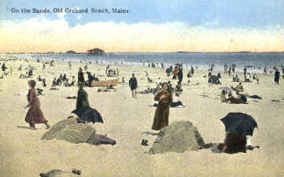 On the Sand - Old Orchard Beach, Maine ME Postcard