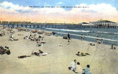 The Beach & Pier - Old Orchard Beach, Maine ME Postcard