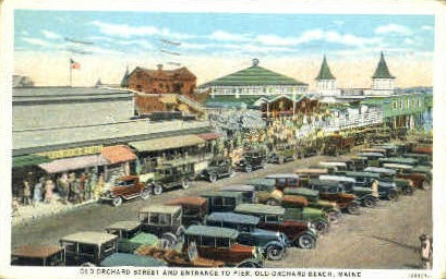 Old Orchard St. & Entrance to Pier - Old Orchard Beach, Maine ME Postcard