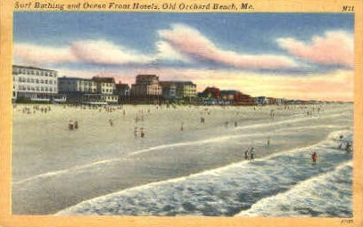 Surf Bathing & Ocean Front Hotels - Old Orchard Beach, Maine ME Postcard