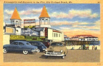 Amusements & Entrance to Pier - Old Orchard Beach, Maine ME Postcard