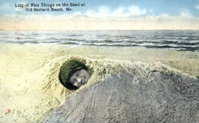 Lots of Nice Things on the Sand - Old Orchard Beach, Maine ME Postcard