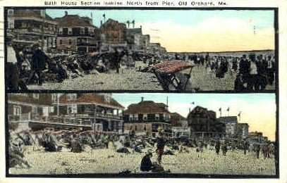 Bath Houses - Old Orchard Beach, Maine ME Postcard