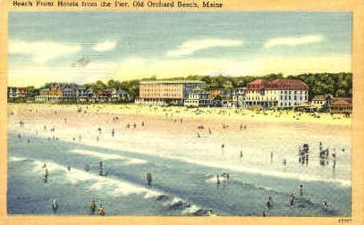 Beach Front Hotels - Old Orchard Beach, Maine ME Postcard