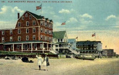 Hotels & Beach - Old Orchard Beach, Maine ME Postcard