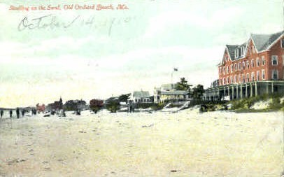 Strolling on the Sand - Old Orchard Beach, Maine ME Postcard