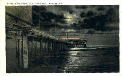Surf & Pier - Old Orchard Beach, Maine ME Postcard