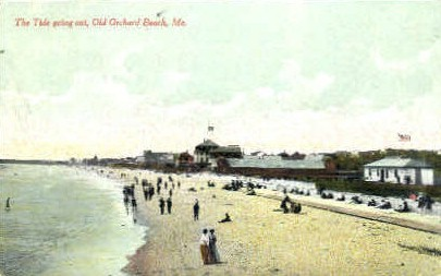 Tide going Out - Old Orchard Beach, Maine ME Postcard