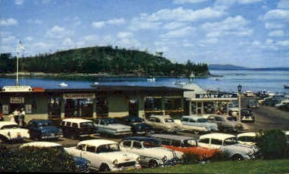 Municipal Pier & Frenchman's Bay - Mt. Desert Island, Maine ME Postcard