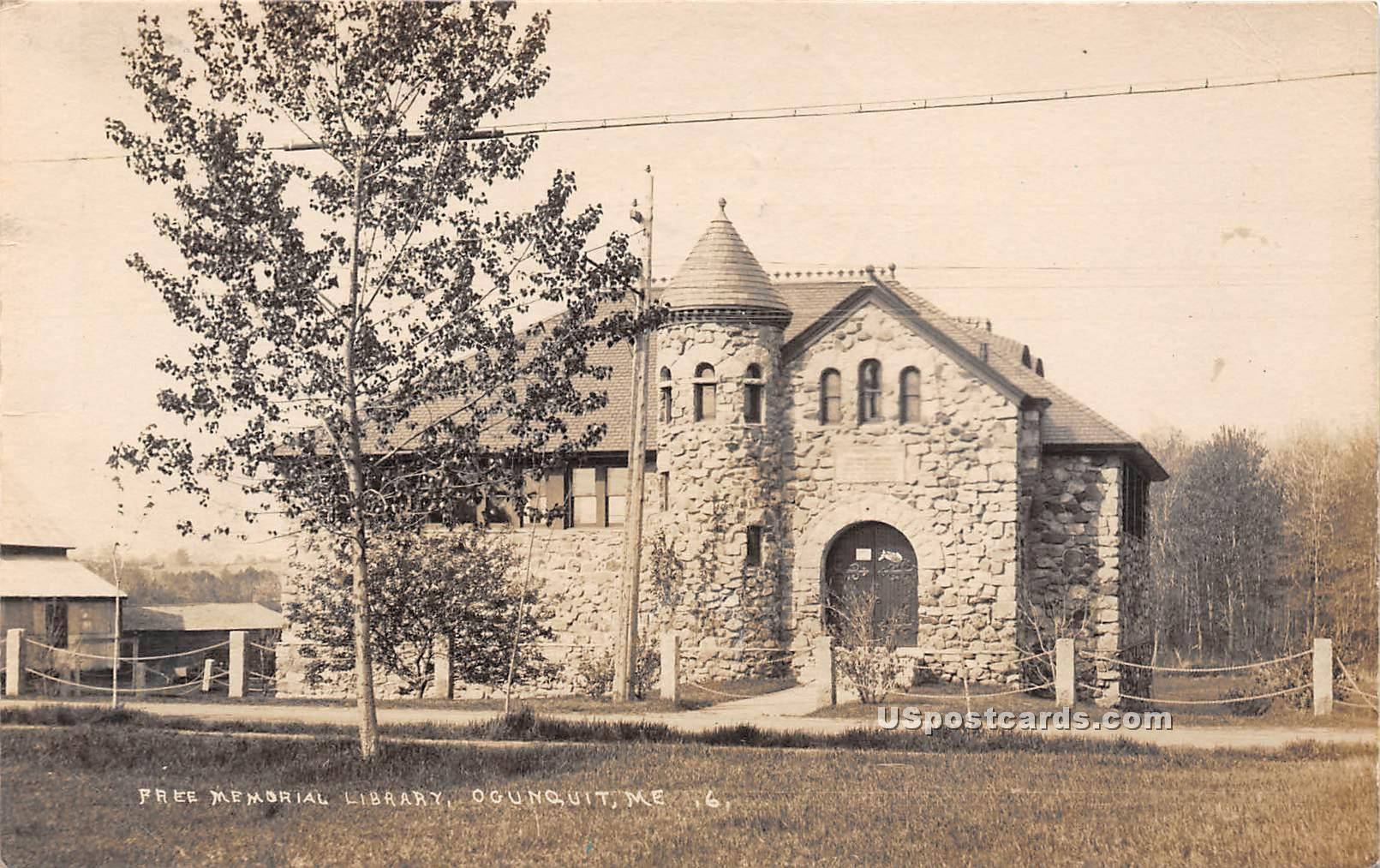 Free Memorial Library - Ogunquit, Maine ME Postcard