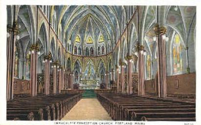 Immaculate Conception Church - Portland, Maine ME Postcard