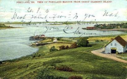 Portland Harbor - Maine ME Postcard