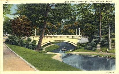 Arch Bridge, Deerings Oaks - Portland, Maine ME Postcard