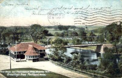 Boat House & Presumpscot River, Riverton Park - Portland, Maine ME Postcard