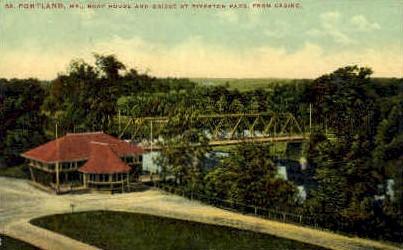 Boat House & Bridge, Riverton Park - Portland, Maine ME Postcard