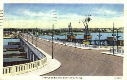 Portland Bridge - Maine ME Postcard