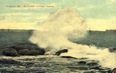 Surf, Cape Cottage Casino - Portland, Maine ME Postcard