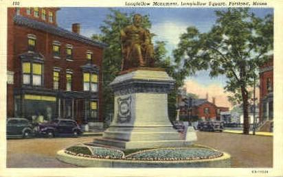 Longfellow Monument, Longfellow Square - Portland, Maine ME Postcard