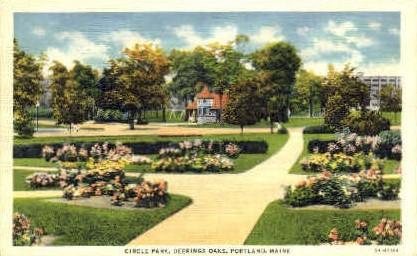 Circle Park, Deerings Oaks - Portland, Maine ME Postcard