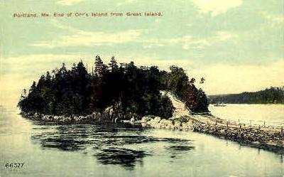 End of Orr's Island - Portland, Maine ME Postcard