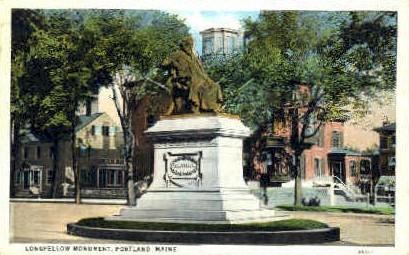 Longfellow Monument - Portland, Maine ME Postcard