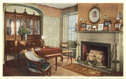 The Sitting or Living Room, Longfellow's Old Home - Portland, Maine ME Postcard