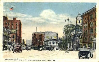 Congress St. & Y.M.C.A. Building - Portland, Maine ME Postcard