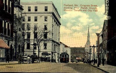 Masonic Temple - Portland, Maine ME Postcard