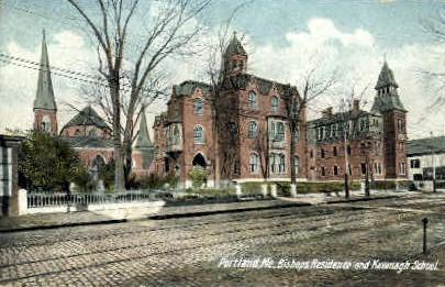 Bishops Residence & Kavanagh School - Portland, Maine ME Postcard