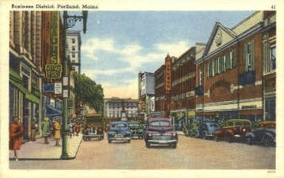 Business District - Portland, Maine ME Postcard
