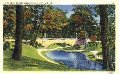 New Arch Bridge, Deering Oaks - Portland, Maine ME Postcard