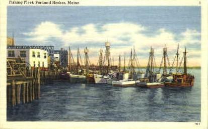 Fishing Fleet - Portland, Maine ME Postcard