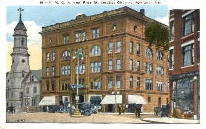 Y.M.C.A. & Free St. Baptist Church - Portland, Maine ME Postcard