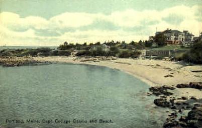 Cape Cottage Casino & Beach - Portland, Maine ME Postcard