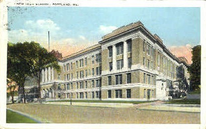 New High School - Portland, Maine ME Postcard