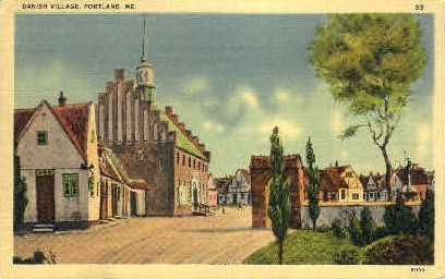 Danish Village - Portland, Maine ME Postcard