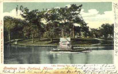 Lake, Deering Park - Portland, Maine ME Postcard