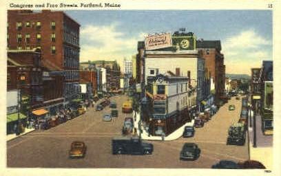 Congress & Free Sts. - Portland, Maine ME Postcard