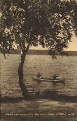 Fishing on Damariscotta Lake - Jefferson, Maine ME Postcard