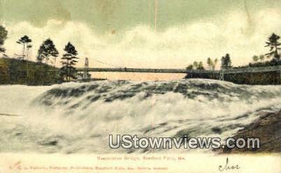 Suspension Bridge - Rumford Falls, Maine ME Postcard