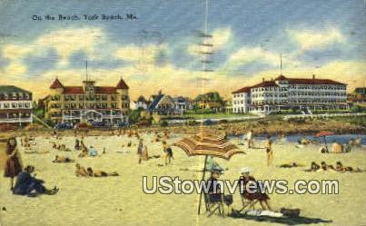 Beach & Pier - York Beach, Maine ME Postcard