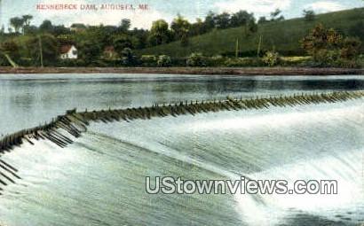 Kennebeck Dam - Augusta, Maine ME Postcard