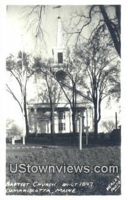 Real Photo - Baptsit Church Built 1847 - Damariscotta, Maine ME Postcard