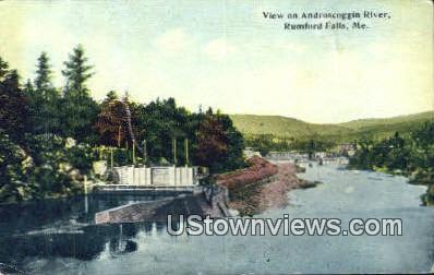 Androscoggin River - Rumford Falls, Maine ME Postcard