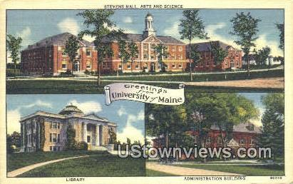 Steven's Hall, University of Maine - Orono Postcard
