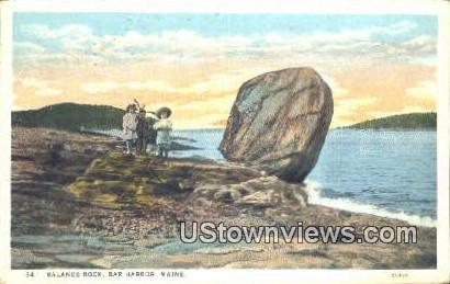 Balance Rock - Bar Harbor, Maine ME Postcard